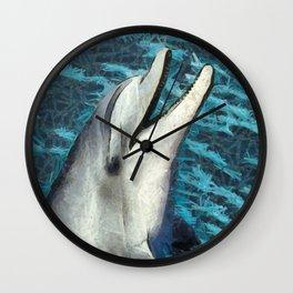 Happy Dolphin Art Wall Clock