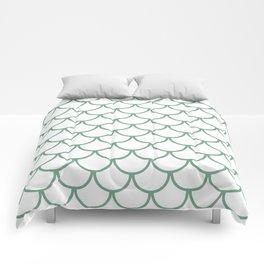 Sea Foam Green Fish Scales Pattern Comforters