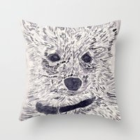 puppy Throw Pillows featuring Puppy by echoes