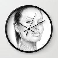 angelina jolie Wall Clocks featuring Angelina Jolie  by Olechka