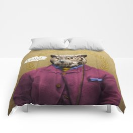 "Mr. Owl says: ""HOOT Happens!"" Comforters"