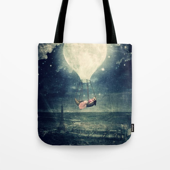 Moon Reverie over Paris Tote Bag