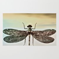 dragonfly Area & Throw Rugs featuring DRAGONFLY  by Pia Schneider