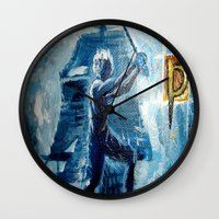 peter pan Wall Clocks featuring Peter Pan by ANoelleJay