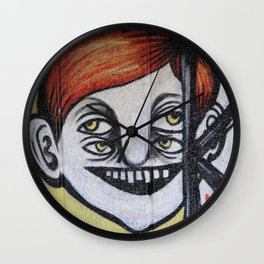 One face four eyes. Wall Clock