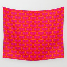Chaotic pattern of dark pink rhombuses and orange triangles in a zigzag. Wall Tapestry