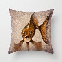 goldfish Throw Pillows featuring Goldfish by Werk of Art