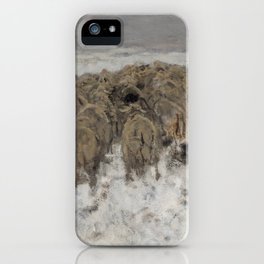 Flock of sheep with shepherd in the snow by Anton Mauve iPhone Case