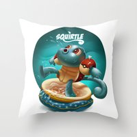 squirtle Throw Pillows featuring Squirtle by Danilo Fiocco