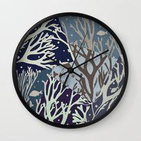 under the sea Wall Clocks featuring Under the Sea - Abstract by Paula Belle Flores