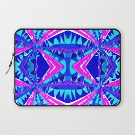 psychedelic geometric abstract pattern background in blue pink purple Laptop Sleeve
