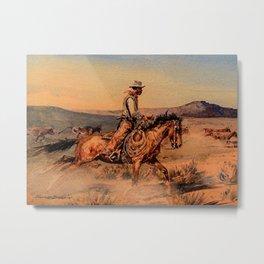 """Riding Herd"" Western Art by Edwar Borein Metal Print"