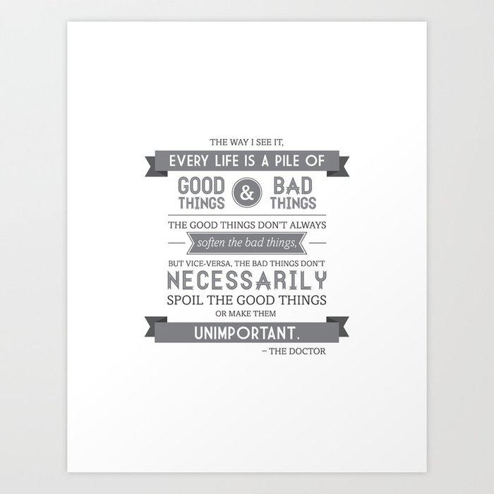Good Things & Bad Things (gray) Art Print