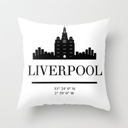LIVERPOOL ENGLAND BLACK SILHOUETTE SKYLINE ART Throw Pillow