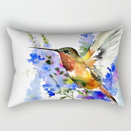 Alen's Hummingbird and Blue Flowers, floral bird design birds, watercolor floral bird art Rectangular Pillow