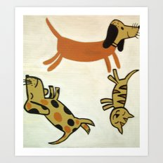 Cats and Dogs Art Print