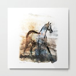 Horse (Smelling home) Metal Print