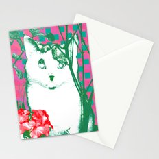 flower and cat Stationery Cards