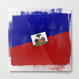 Haitian Distressed Halftone Denim Flag Metal Print