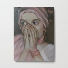 Girl in pink Metal Print