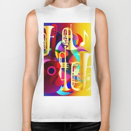 Colorful music instruments with guitar, trumpet, musical notes, bass clef and abstract decor Biker Tank