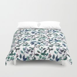 Jade and Succulent Watercolor Plant Pattern Duvet Cover