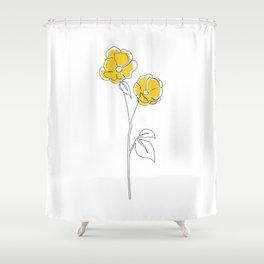 Mustard Bloom Shower Curtain