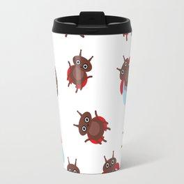 Funny insects ladybugs pattern on white background Travel Mug