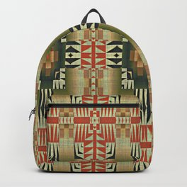 Orange Red Olive Green Native American Indian Mosaic Pattern Backpack