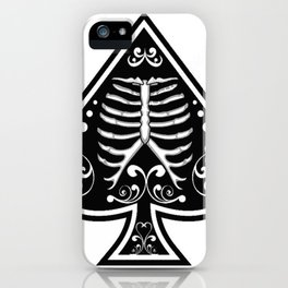 Ace of spades,Ribcage art, custom gift design iPhone Case