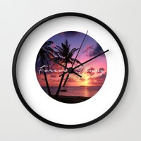 forever young Wall Clocks featuring FOREVER YOUNG by Shelby McCann