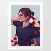 bucky barnes Art Prints featuring Flowers: Bucky Barnes by Isabel Inadomi