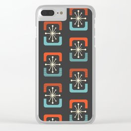 Mid Century Modern Starburst Shells Blue and Orange Clear iPhone Case