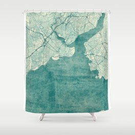 Istanbul Map Blue Vintage Shower Curtain