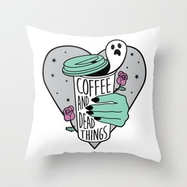 Coffee & Dead Things Throw Pillow