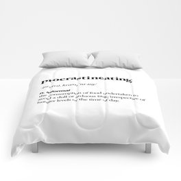 Procrastineating black and white contemporary minimalism typography design home wall decor bedroom Comforters