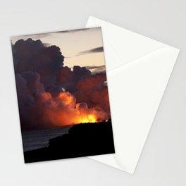 Lava Vaporizes Ocean Stationery Cards