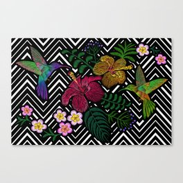 Hummingbird around flower plumeria hibiscus Frangipani exotic  Embroidery Canvas Print
