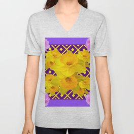 Purple Pattern Yellow Daffodils Pink Roses Art Unisex V-Neck
