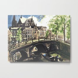 Canal Bridge in Amsterdam Netherlands Metal Print