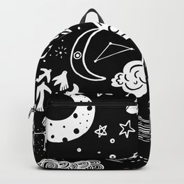 black white doodle space Backpack