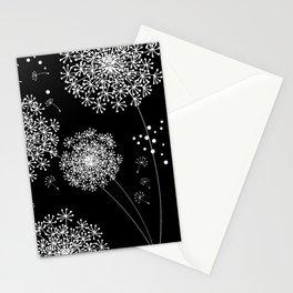 DANDELION SNOWFLAKE BLACK Stationery Cards
