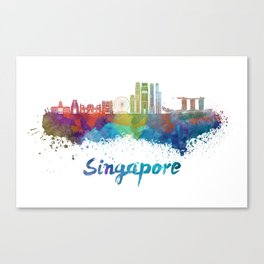 Singapore V2 skyline in watercolor Canvas Print