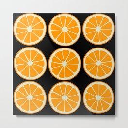Oranges on Black, Fruit Pattern Metal Print