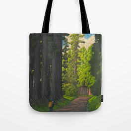 Vintage Japanese Woodblock Print Kawase Hasui Mystical Japanese forest Tall Green Trees Tote Bag