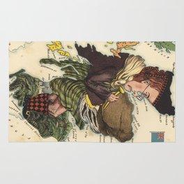Vintage Scotland Bagpiper Map (1868) Rug