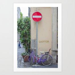 Purple Bicycle Art Print
