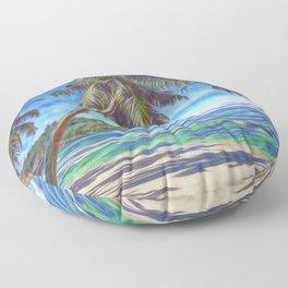 Tropical island beach Floor Pillow
