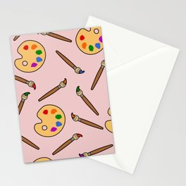 paintbrush and palette Stationery Cards