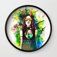 capricorn Wall Clocks featuring Capricorn by Sara Eshak